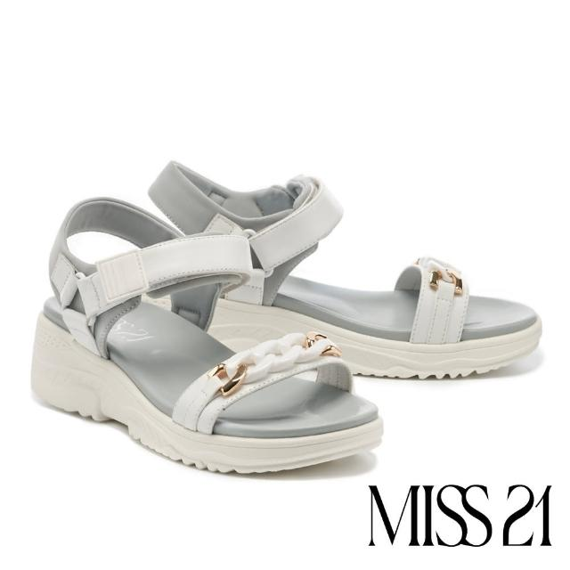 【MISS 21】率性休閒異材質金屬粗鏈魔鬼氈厚底涼鞋(白)