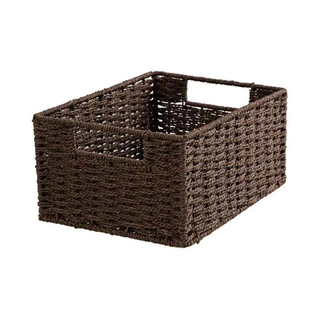 【NITORI 宜得利家居】編織收納籃 LAIRA3 四分之一型 DBR(收納籃 收納盒 整理盒)