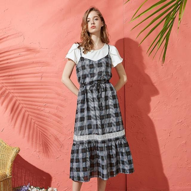 【CUMAR】蕾絲格紋假兩件-女短袖洋裝(二色/版型適中/魅力商品)