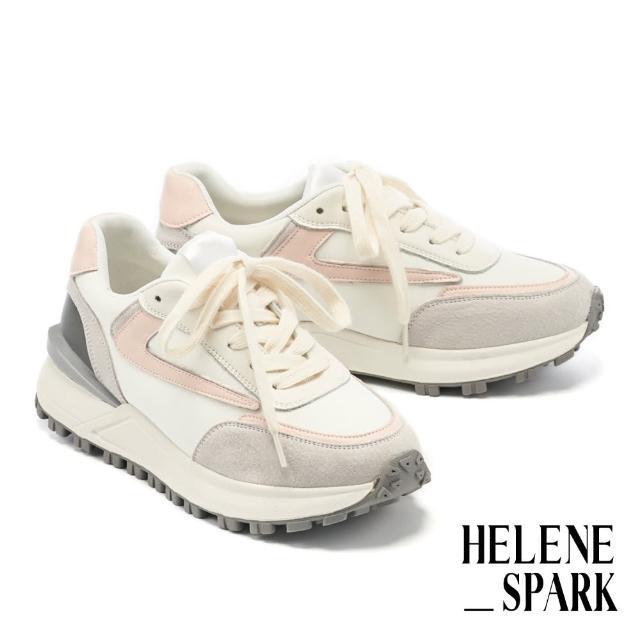 【HELENE SPARK】時髦復古異材質拼接綁帶厚底休閒鞋(粉)