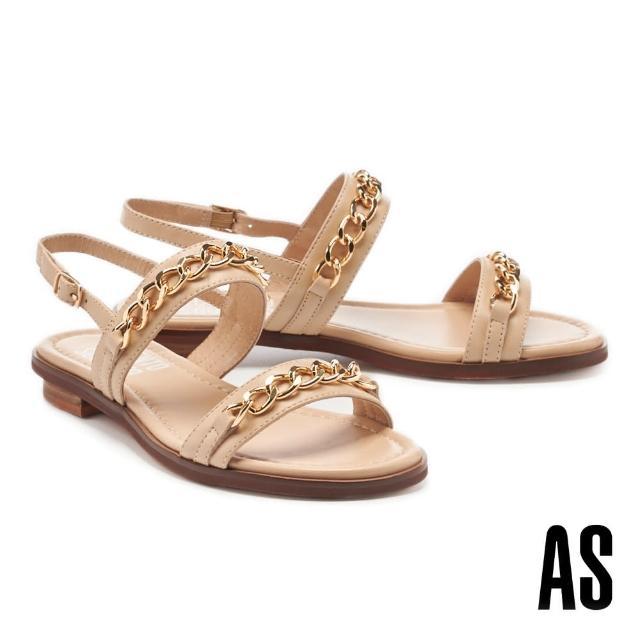 【AS 集團】個性金屬風鏈條一字全真皮低跟涼鞋(米)