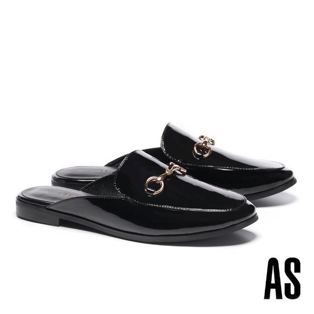 【AS 集團】經典復刻時尚馬銜釦漆皮低跟穆勒拖鞋(黑)