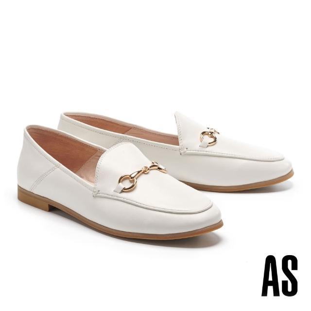【AS 集團】復刻經典時尚馬銜釦羊皮樂福低跟鞋(白)
