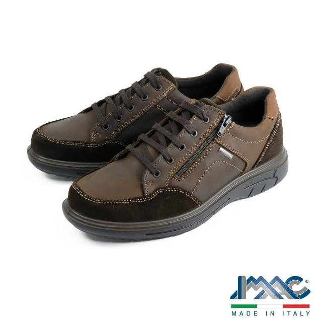 【IMAC】輕便拉鍊造型綁帶休閒鞋 深棕色(602048-BR)