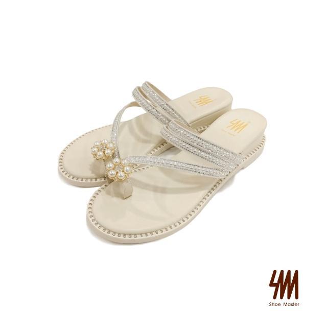 【SM】典雅珍珠水鑽繞帶牛皮拖鞋(米白色)