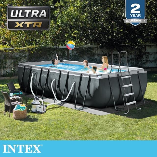 【INTEX】長型框架速搭大型游泳池附砂濾水泵549x274x132cm-17203L 適用6歲+(26355EH)