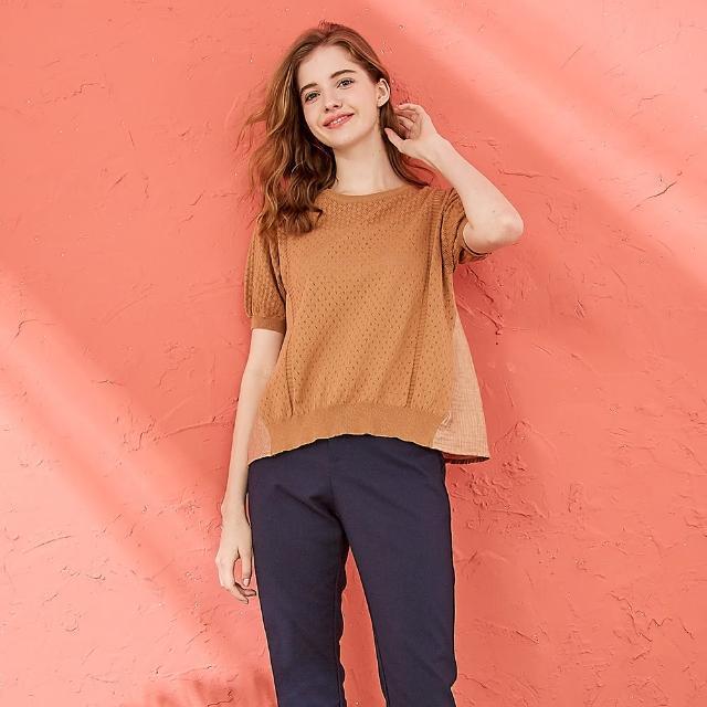 【CUMAR】合身拼接色塊-女短袖針織衫(三色/魅力商品/版型適中)