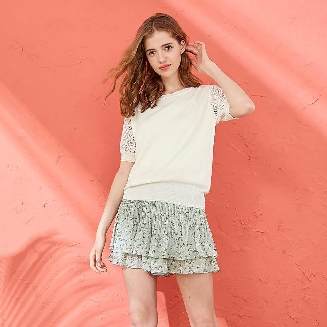 【CUMAR】氣質簡約蕾絲圓領-女五分袖針織衫(三色/魅力商品/版型合身)