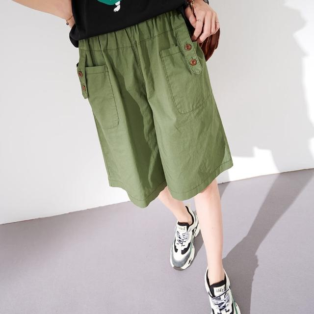 【慢。生活】工裝造型五分短褲-F(黑/綠/卡)