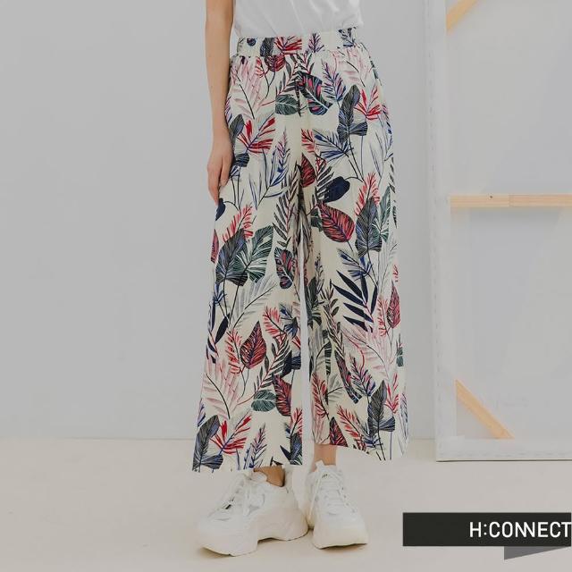 【H:CONNECT】韓國品牌 女裝 -滿版葉子印花休閒寬褲裙(白色)