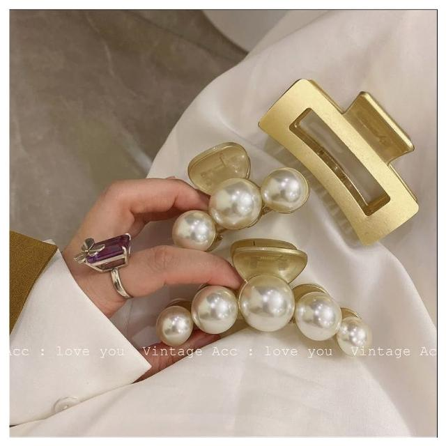 【HaNA 梨花】韓國極有質感的復古啞金.珍珠框型抓夾多款選