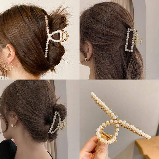 【Emi 艾迷】夏季必備抓夾 歐美時尚滿鑽珍珠抓夾髮夾