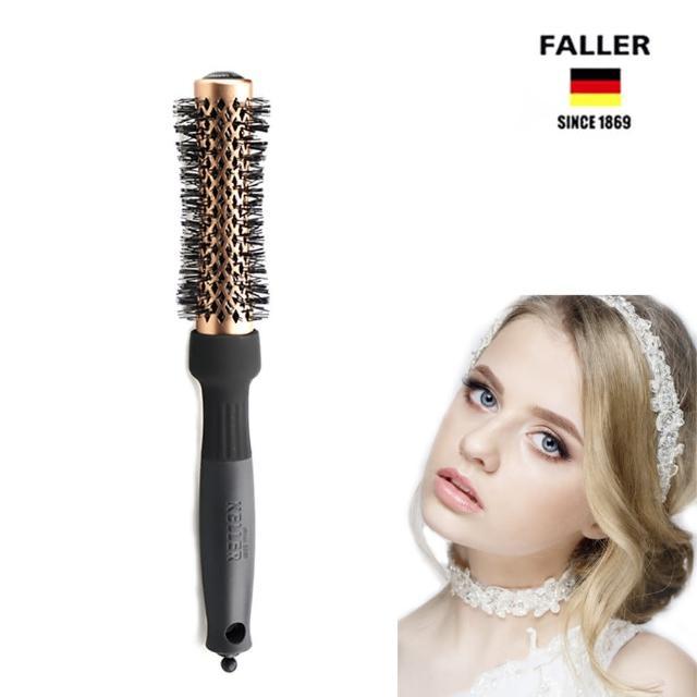 【FALLER 芙樂】陶瓷負離子金屬抗靜電熱塑梳25MM 獨特內縮式管身(護髮效果捲髮直髮兩用造型梳)