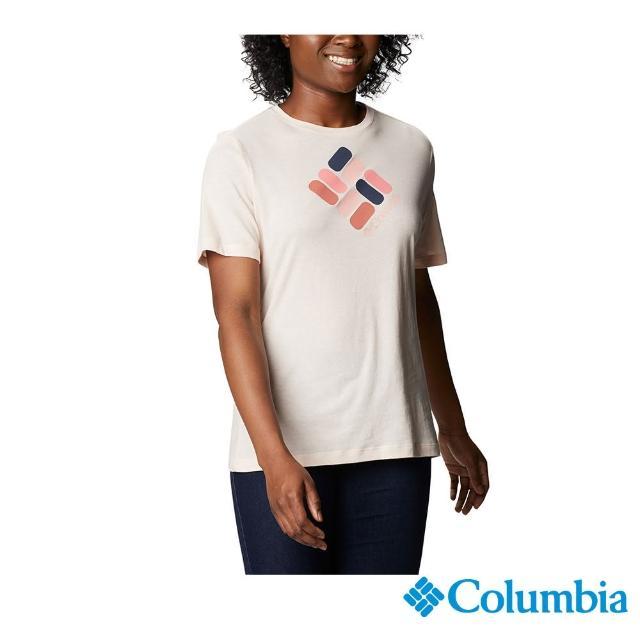 【Columbia 哥倫比亞】女款- LOGO短袖上衣-粉紅(UAR31200LK / 舒適.運動.戶外)