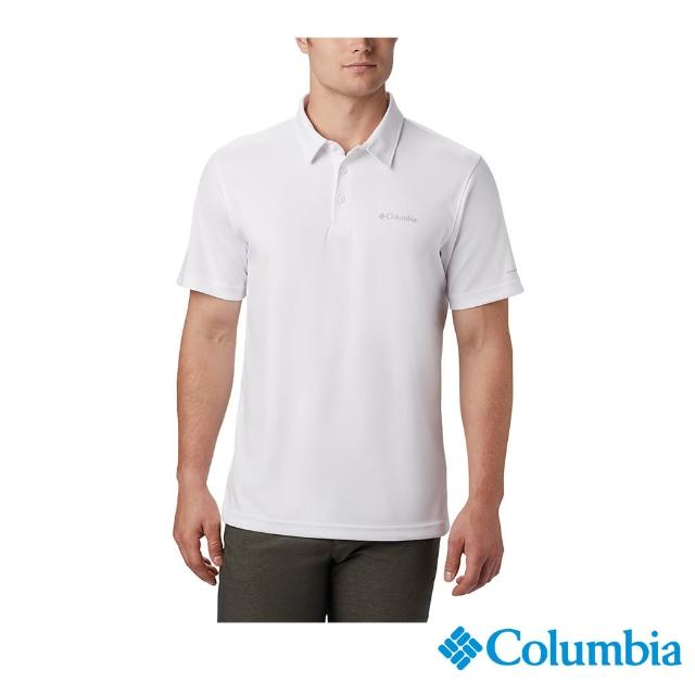 【Columbia 哥倫比亞】男款-UPF30冰紗快排Polo衫-白色(UEE03060WT / 抗UV.快排.酷涼)