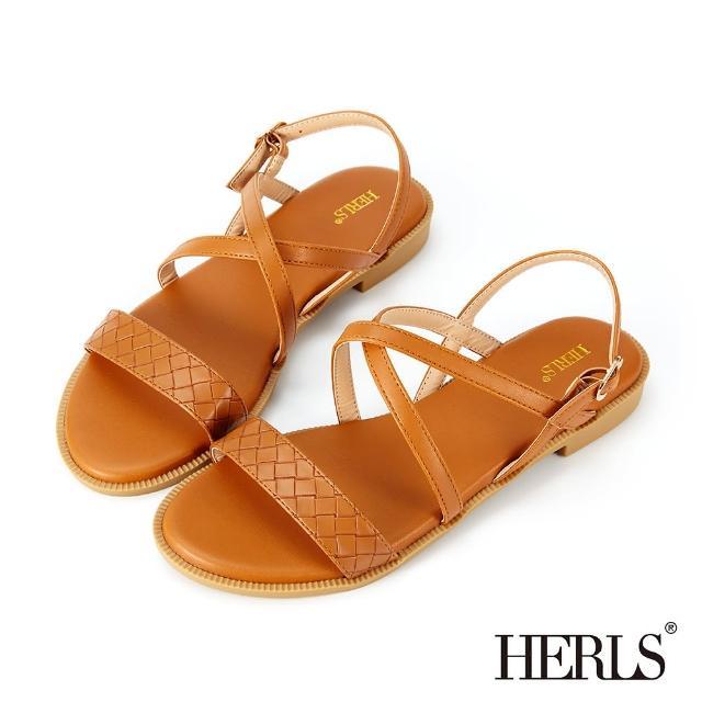 【HERLS】涼鞋-編織壓紋交叉平底涼鞋(棕色)