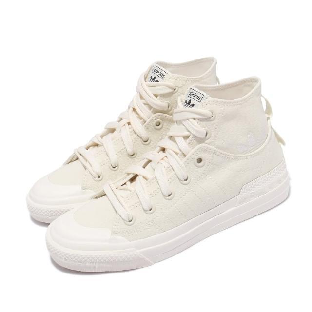 【adidas 愛迪達】休閒鞋 Nizza Hi DL 運動 男女鞋 海外限定 愛迪達 簡約 帆布 情侶穿搭 卡其 白(GZ8835)
