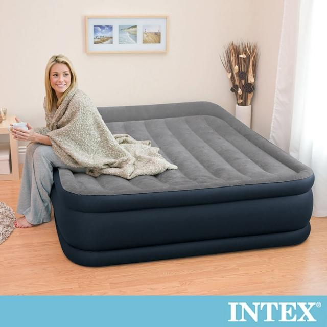 【INTEX】豪華三層圍邊內建電動幫浦雙人加大充氣床-寬152cm(64135ED)