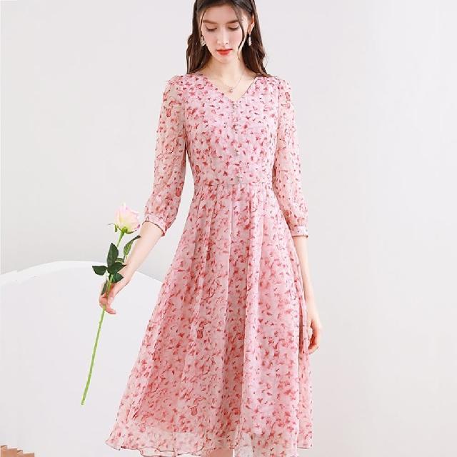 【A'bella 艾貝菈】櫻花粉花瓣印花v領七分袖洋裝(S-2XL)