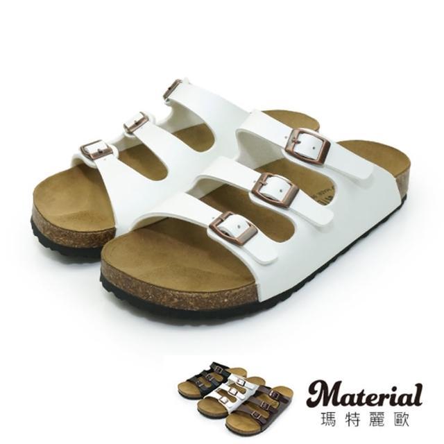 【MATERIAL】男鞋 三扣真皮墊拖鞋 MA女鞋 T27671(拖鞋)