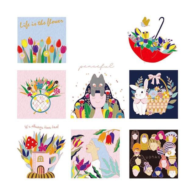 【印花美術社】香氛舒壓療癒手繪布好塗顏料組-鳥語花香