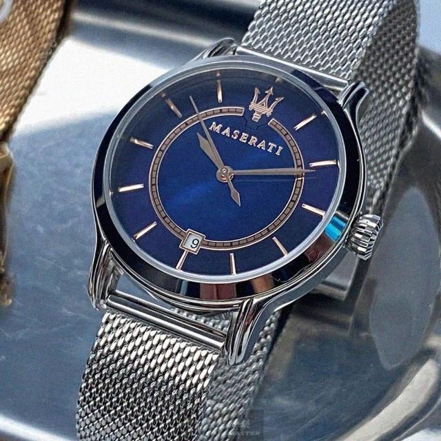 【MASERATI 瑪莎拉蒂】瑪莎拉蒂女錶型號R8853118507(寶藍色貝母錶面銀錶殼銀色米蘭錶帶款)