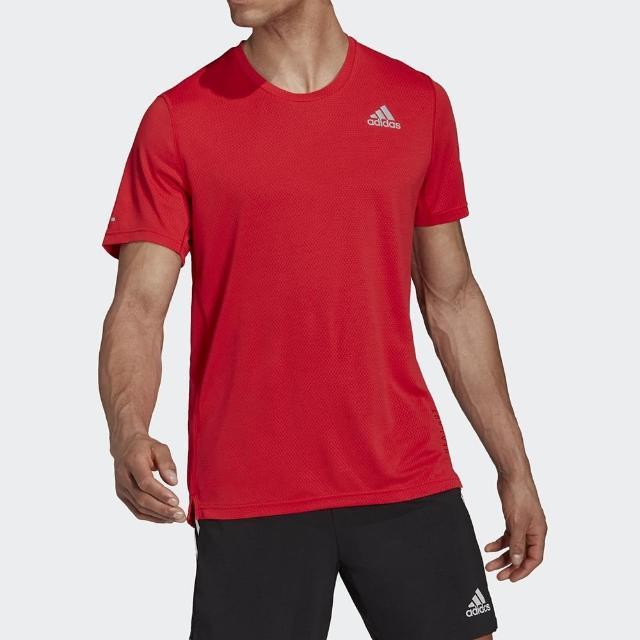 【adidas 愛迪達】上衣 男款 短袖上衣 運動 慢跑 HEAT RDY TEE 紅 H45133