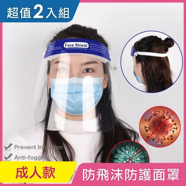 【iRoom 優倍適】全面防疫*防飛沫防霧隔離防護面罩-頭戴式成人款(2入超值組)