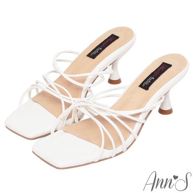 【Ann'S】港風小姊姊-多重細帶酒杯跟方頭涼拖鞋6cm-版型偏小(米白)