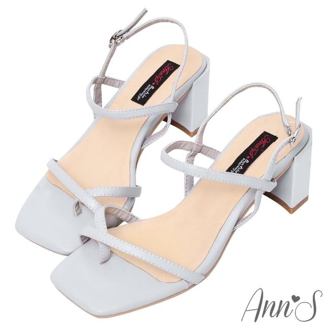 【Ann'S】糖果清甜-細帶交叉套趾側V顯瘦六角粗跟方頭涼鞋6cm(藍)