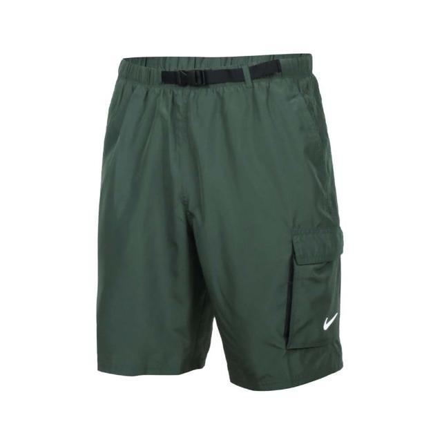 【NIKE 耐吉】男成人九吋海灘短褲-五分褲 海邊 慢跑 路跑 戲水 平織 軍綠白(NESSB521-303)