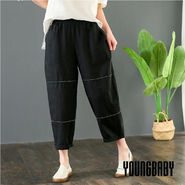 【YOUNGBABY】圓領口袋三段拼接寬鬆棉麻七分褲