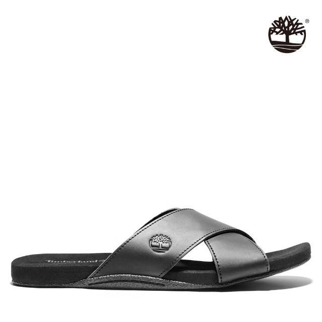 【Timberland】男款黑色寬版皮革交叉涼鞋(A24Z5015)