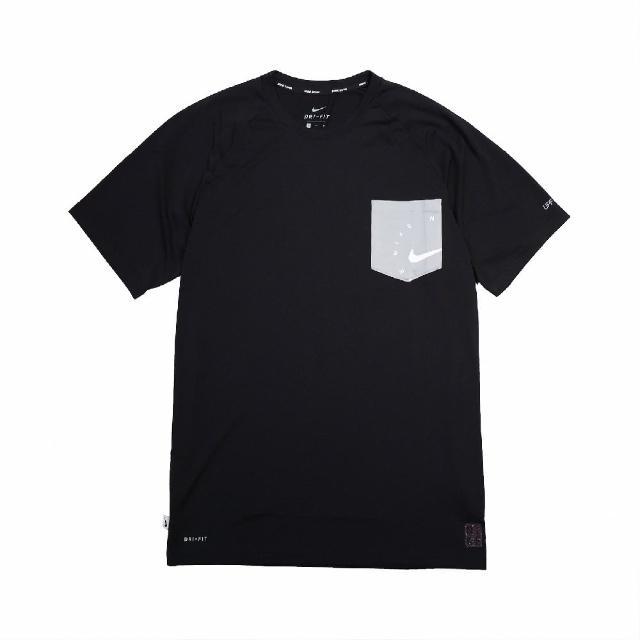 【NIKE 耐吉】T恤 Logo Top 圓領 防曬 男款 DRI-FIT 運動休閒 基本款 穿搭推薦 黑 灰(NESSB652-001)
