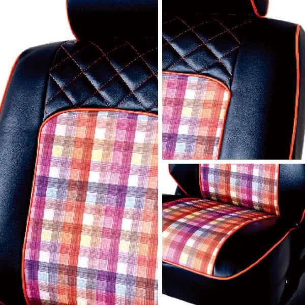 【葵花】量身訂做-汽車椅套-日式合成皮-格紋配色-E款(雙前座-第一排)