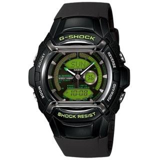 CASIO G-SHOCK 炫彩賽車風雙顯運動錶(膠帶-綠底黑框)