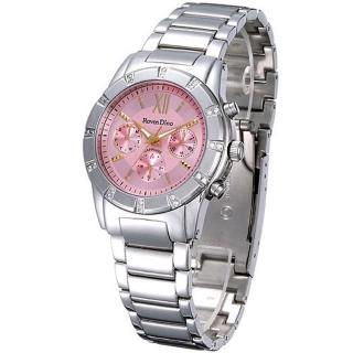 【Roven Dino羅梵迪諾】璀璨羅馬三眼時尚錶-粉紅-大(RD607-358-P)