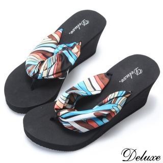 ~Deluxe~沙灘甜心繽紛普普風楔型夾腳拖鞋 黑~咖