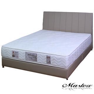 (Maslow-簡約線條卡其皮製)雙人床組-5尺(不含床墊)