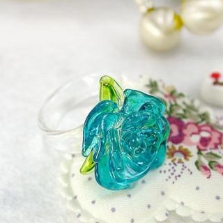 【伊飾童話】光透玫瑰琉璃戒指(藍)