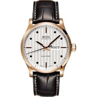 【MIDO Multifort】系列經典皮帶腕錶(M0054303603100-玫塊金)
