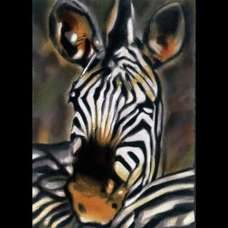 【劉其偉藝術典藏】親筆簽名限量發行石版畫(保育動物系列--斑馬)
