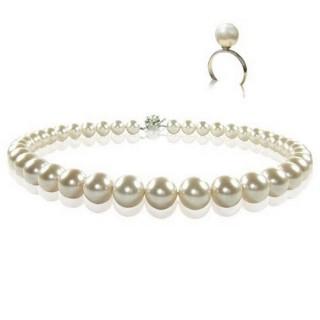 小樂珠寶-圓滿如意款-3A南洋深海貝珍珠套組-項鍊+戒指