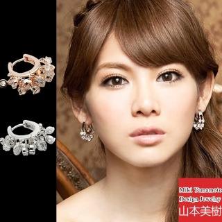 【山本美樹】月圓晶鑽 韓系耳扣式耳環(銀色/玫瑰金)