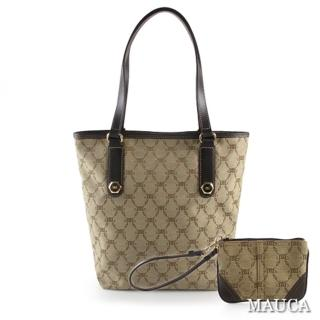 【Mauca】經典LOGO緹花直式購物包(咖啡色)