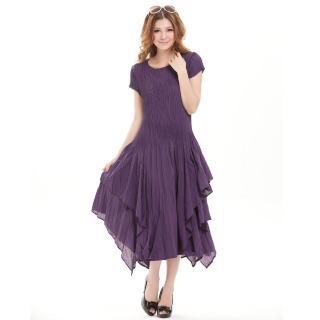 【羽生摺衣】英倫奢華-多層裙擺洋裝(共三色)