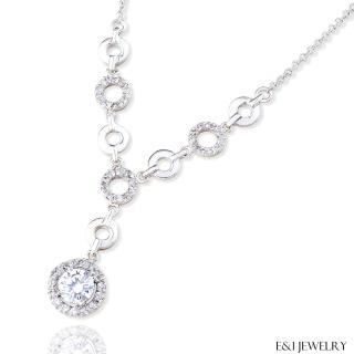 【E&I】-花好月圓-完美車工八心八箭HOF造型美鑽項鍊