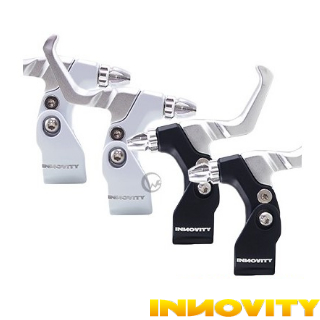 【INNOVITY】高光澤黑白烤漆 鋁合金 台灣製 自行車 C夾 煞車握把 一對(管徑22.2mm)