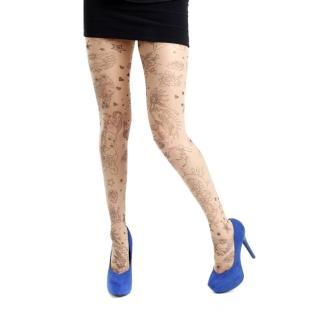 【摩達客】英國進口義大利製 Pamela Mann 刺青效果圖紋印花彈性褲襪