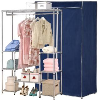 【克諾斯】120*45*180八層防塵衣櫥架(深藍灰邊)